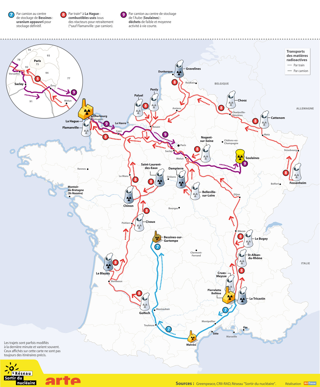 Cartes de France des transports de matière nucléaire